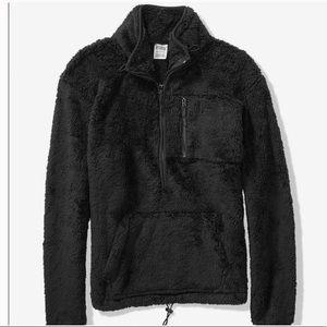 PINK Victoria Secret Teddy Half Zip Black Faux Fur